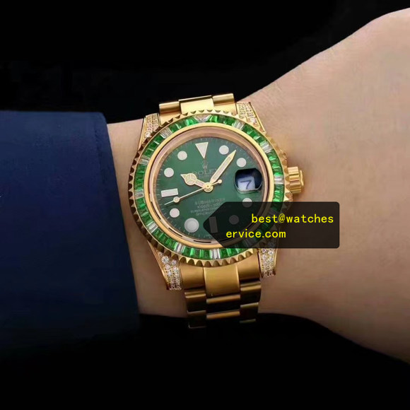 Green Diamonds Fake Rolex Submariner Gold Watch