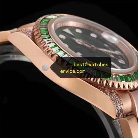 Green Diamonds Fake Rolex Submariner Rose Gold Watch