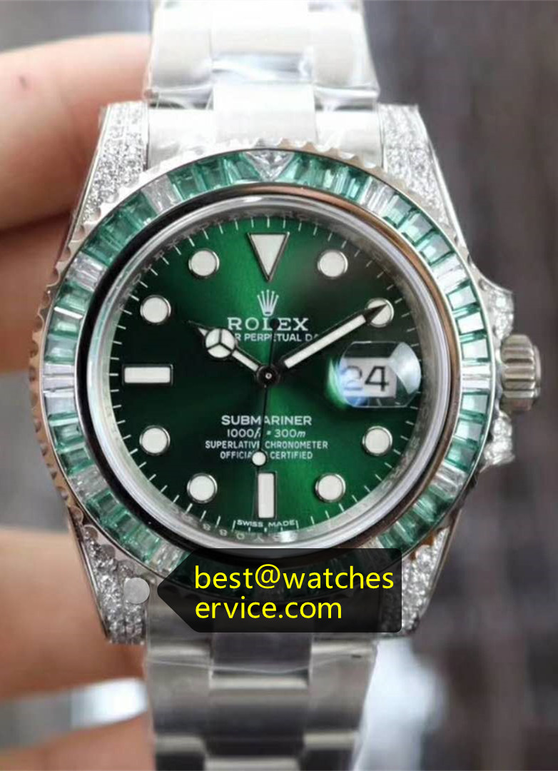 Replica Rolex Green Submariner Diamond Watch