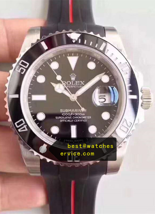 Rubber Strap Black Fake Submariner Watch