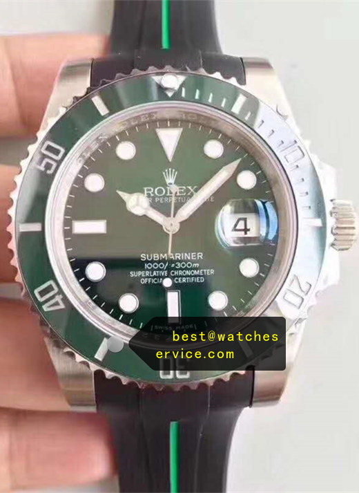 Rubber Strap Green Fake Submariner Watch