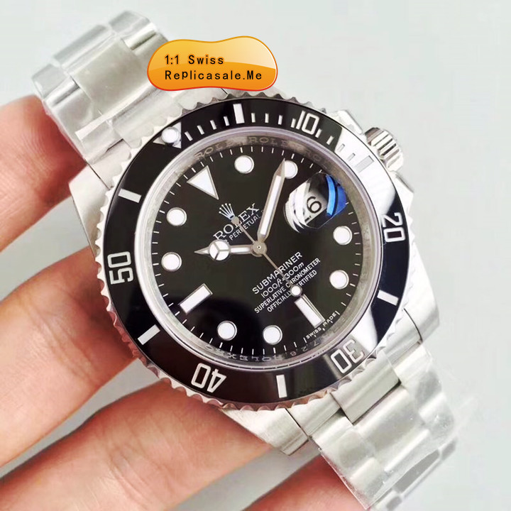 Top Black Fake Rolex Submariner Swiss-ETA-7750-1804H
