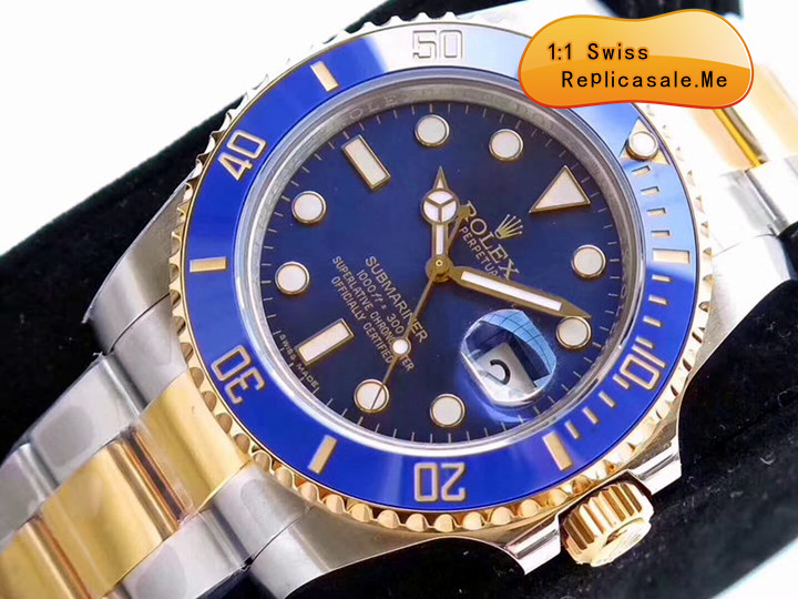 Top Blue With Gold Combination Rolex Submariner Replica Swiss-ETA 7750 0913A