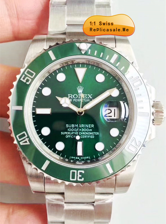 Top Green Fake Rolex Submariner Swiss-ETA-7750 1556B