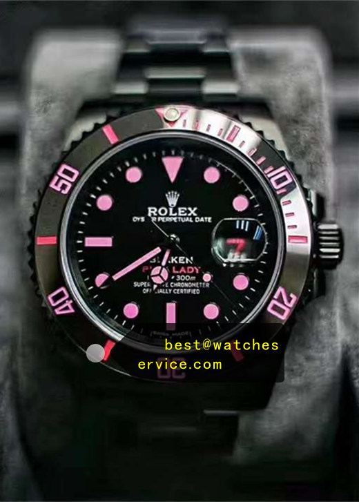 Womens Pink Fake Rolex Submariner Black Steel Watch