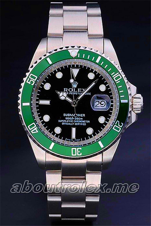 Rolex Submariner Green Bezel Black Plate 16610LV-93250
