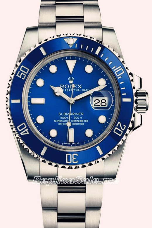 Men's Replica Rolex Submariner Blue Plate Platinum Oyster Bracelet 116619LB