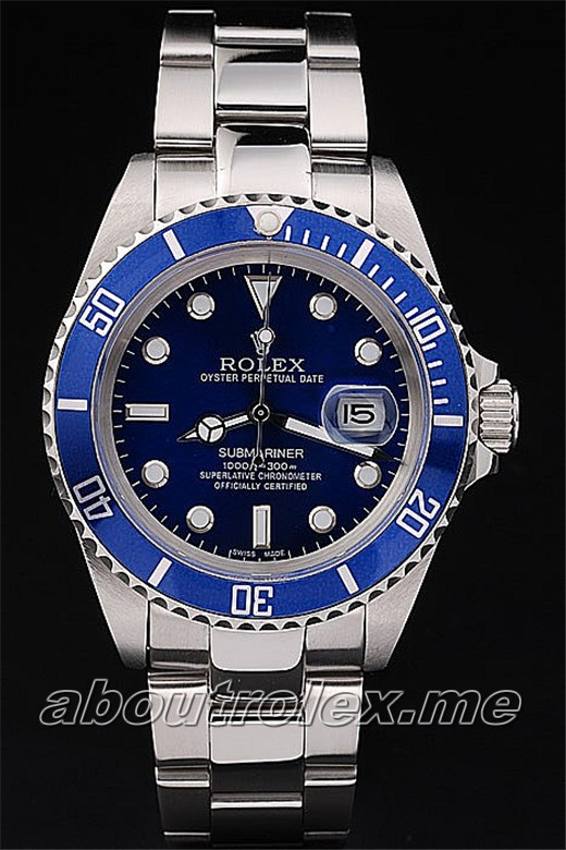 Men S Replica Rolex Submariner Blue Plate Platinum Oyster