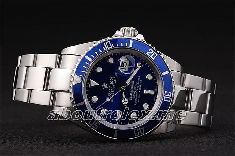 Men S Replica Rolex Submariner Blue Plate Platinum Oyster