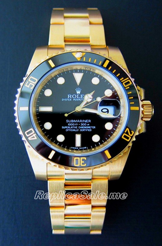 Replica Rolex Submariner Luxury Gold Black Plate 116618LN-97208
