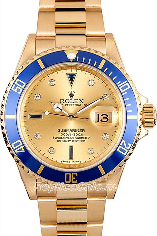 Rolex Submariner 16618 18k Yellow Gold Oyster