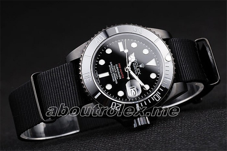 Rolex Submariner Pro-Hunter 16600 Black Fabric Strap Black Dial