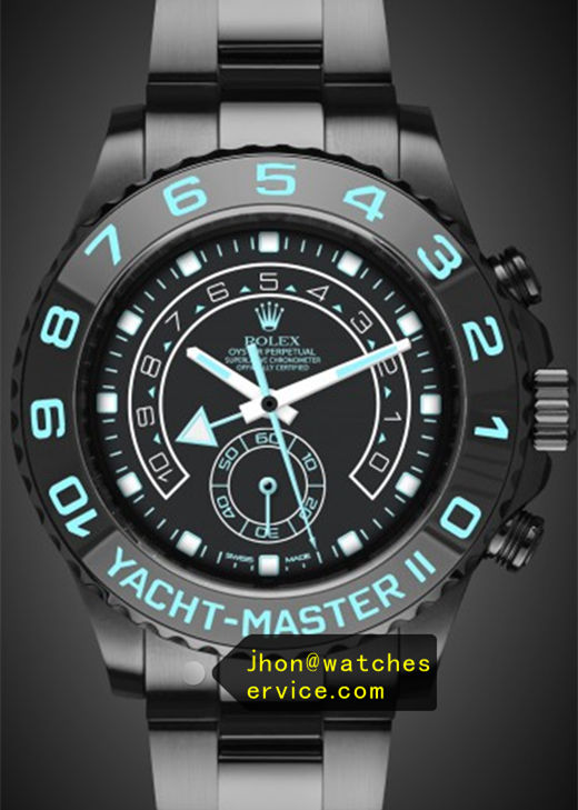 Fake Yacht-Master 116681 Green Text Black PVD Watch