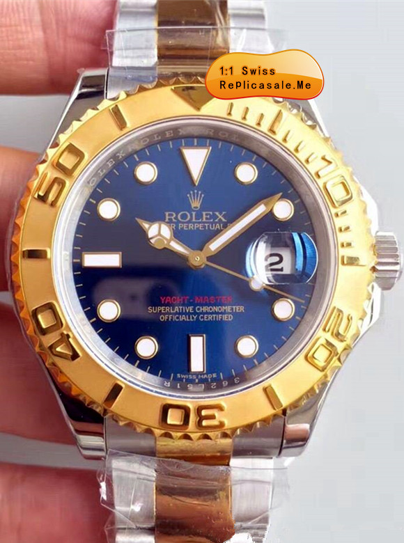Rolex Yachtmaster Blue Rose Gold Circle Swiss-ETA 9562
