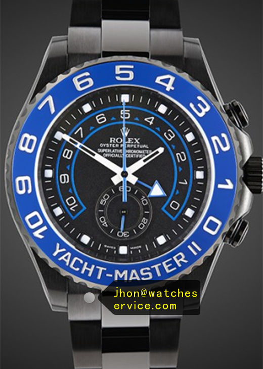 Replica Yacht-Master 116681 Blue PVD White Text Watch