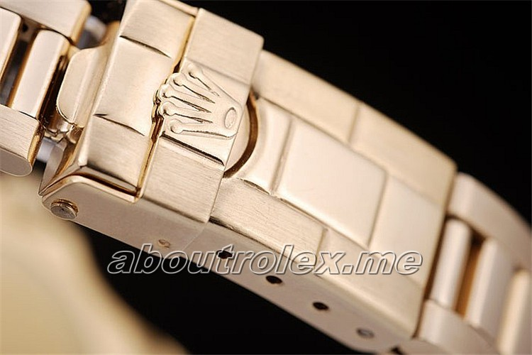 Womens Replica Rolex Yacht Master Gold Tachymeter Gold Dial