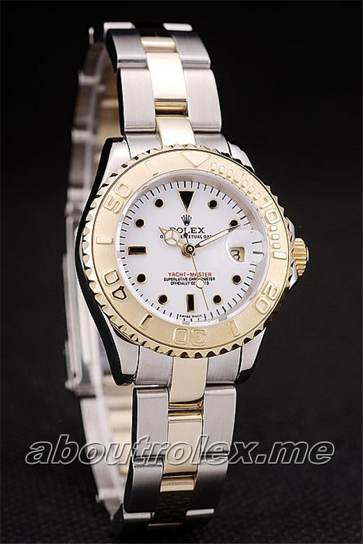 Rolex Yacht Master Replica Gold Tachymeter White Dial