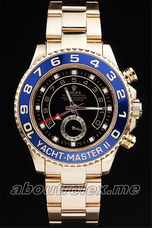 Rolex Yacht Replica Rose gold plated unidirectional cutwork bezel